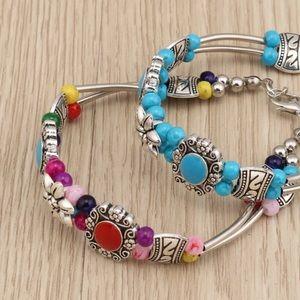 Jewelry - Set of 2 Bohemian Glass Stone Beaded Bracelet